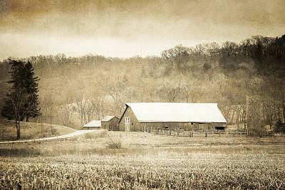Photograph - Galena Farm Sepia Textured by Joni Eskridge