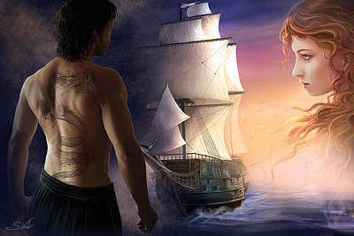 Galeon On The Horizon Art Print by Sonia Verdu