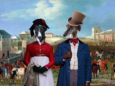 Painting - Galgo Espanol - Spanish Greyhound Art Canvas Print - The Race Over by Sandra Sij
