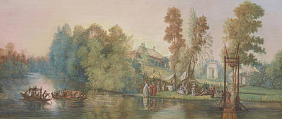 Country Scenes Drawing - Gallant Scene  Picnic At A Lake, by Jean Pierre Norblin