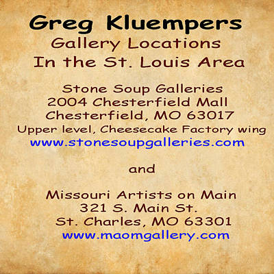 Photograph - Gallery Locations In The St. Louis Area by Greg Kluempers