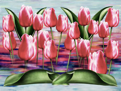 Mixed Media - Gallery Of Tulips Semi Abstract by Georgiana Romanovna