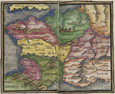 Photograph - Gallia France Map By Johannes Honter 1542 by Rick Bures
