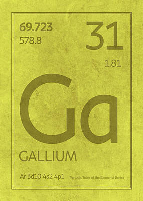 Periodic Table Wall Art - Mixed Media - Gallium Element Symbol Periodic Table Series 031 by Design Turnpike