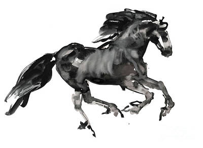 Running Horses Drawing - Gallop by Mark Adlington