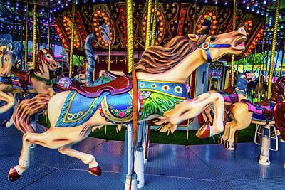 Galloping Carrousel Horse Art Print