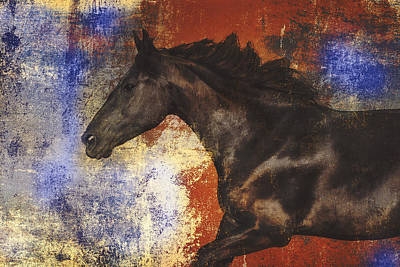 Equine Artwork Photograph - Galloping Horse Artwork 1 by Wolf Shadow  Photography