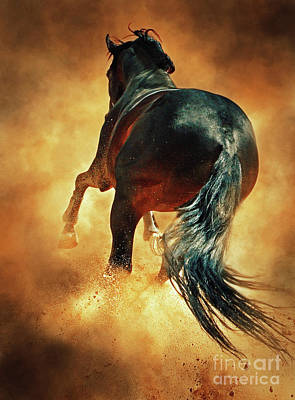 Galloping Horse In Fire Dust Art Print