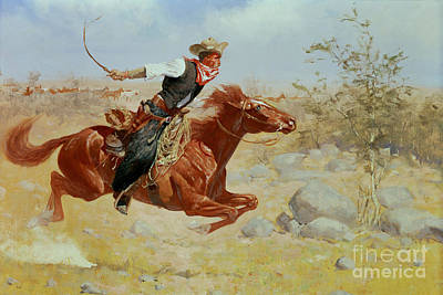 Lassoing Painting - Galloping Horseman by Frederic Remington