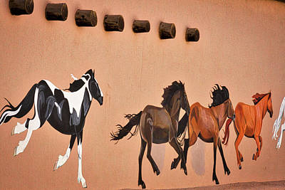 Photograph - Galloping Horses Mural - Taos by Stuart Litoff