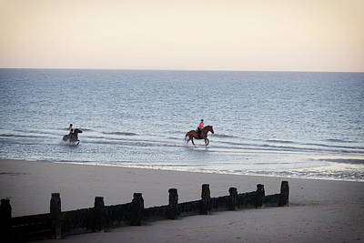 White Stallion Photograph - Galloping On The Beach  by Martin Newman