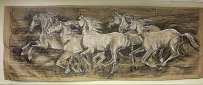 Drawing - Galloping Stallions by Debora Cardaci