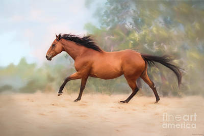 Running Horse Digital Art - Galloping Thoroughbred Horse by Michelle Wrighton