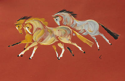 Canter Painting - Galop En Rouge by Liz Pizzo