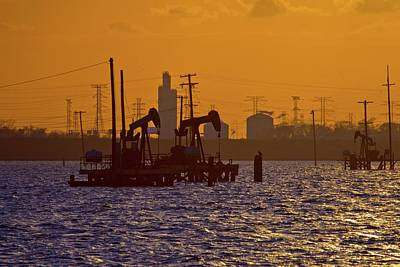 Island Stays Photograph - Galveston Bay Oil Pumpers by Linda Unger