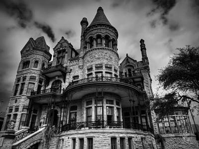 Photograph - Galveston - Bishop's Palace 002 Bw by Lance Vaughn