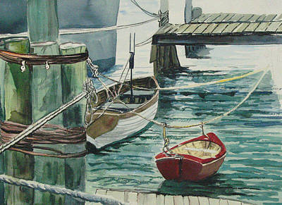 Galveston Painting - Galveston Boats Watercolor by Judy Loper