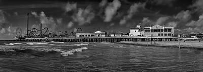 Art Print featuring the photograph Galveston Pleasure Pier Black And White by Joshua House