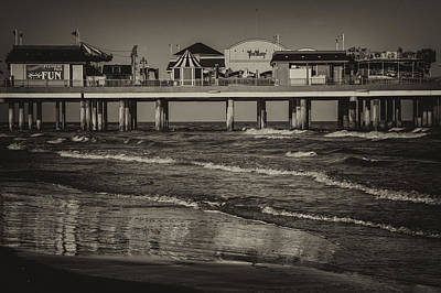 Photograph - Galveston Pleasure Pier - Black And White by Kathy Adams Clark
