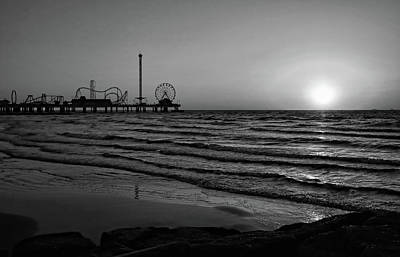Photograph - Galveston Sunrise Black And White by Judy Vincent