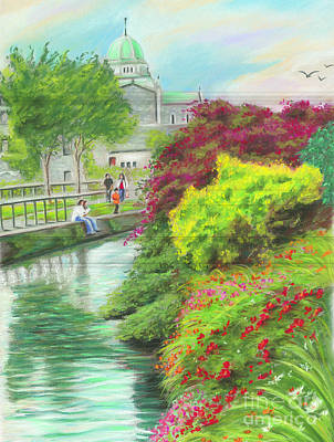 Waterside Painting - Galway Cathedral View Fron The Canal by Vanda Luddy