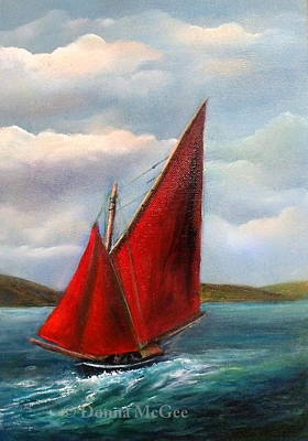 Currach Painting - Galway Hooker by Donna McGee