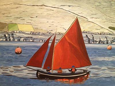 Burren Painting - Galway Hooker On The Burren by Helga  Gleeson