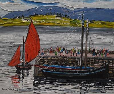 Painting - Galway Hooker Roundstone Pier Ireland by Diana Shephard