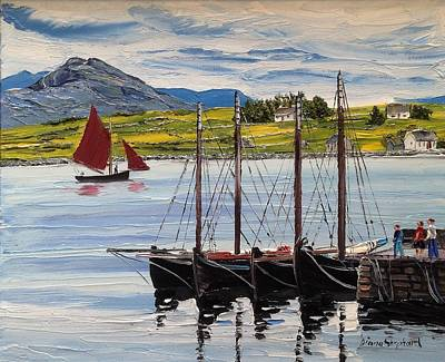 Painting - Galway Hookers At Roundstone Harbour by Diana Shephard
