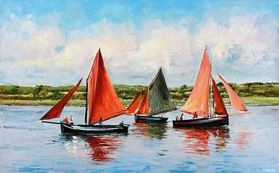 Seascape Oil Painting - Galway Hookers by Conor McGuire