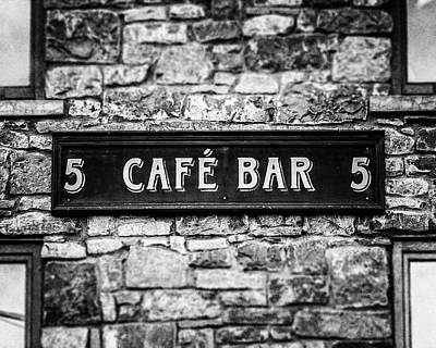 Photograph - Galway Ireland Cafe Bar In Black And White by Lisa Russo