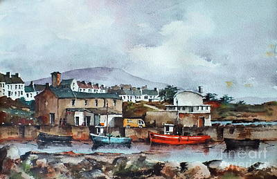 Painting - Galway.. Old Harbour Roundstone by Val Byrne