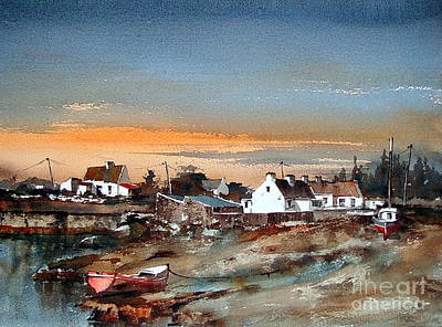 Painting - Galway Sruthan Sunset by Val Byrne