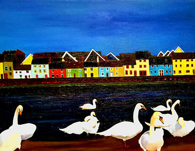 Painting - Galway Swans by JoeRay Kelley