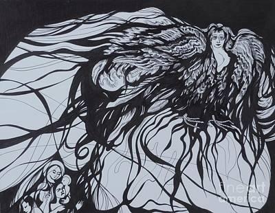 Slavic Drawing - Gamajun. The Prophetic Bird by Anna  Duyunova
