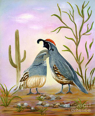 Art Print featuring the painting Gambel Quails Friends Forever by Judy Filarecki