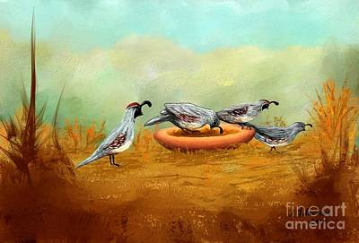 Painting - Gambel's Quail On Parade by Judy Filarecki