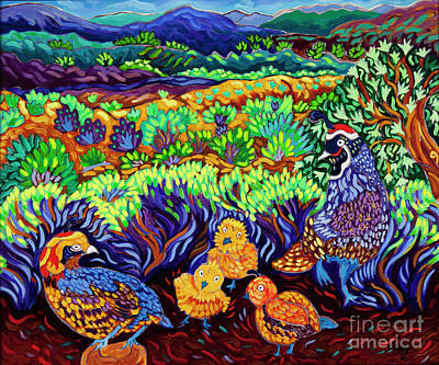 Painting - Gambolin Quail by Cathy Carey