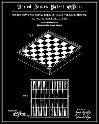 Backgammon Digital Art - Game Board Patent - Black by Finlay McNevin