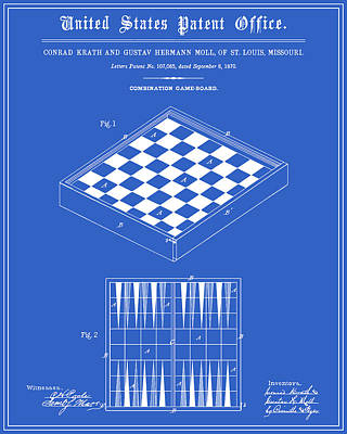Backgammon Digital Art - Game Board Patent - Blueprint by Finlay McNevin