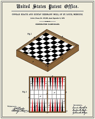 Backgammon Digital Art - Game Board Patent by Finlay McNevin