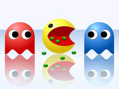 Pac Man Digital Art - Game Ghost Monsters Pac-man by Miroslav Nemecek
