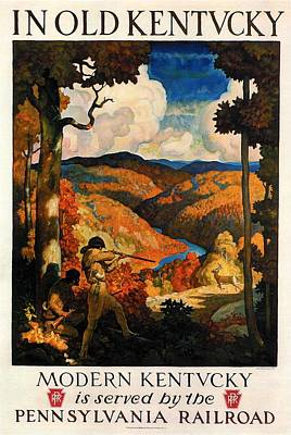 Landscapes Royalty-Free and Rights-Managed Images - Game Hunting in Old Kentucky - Landscape Painting - Vintage Travel Poster by Studio Grafiikka