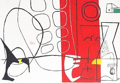 Mourlot Painting - Game by Le Corbusier