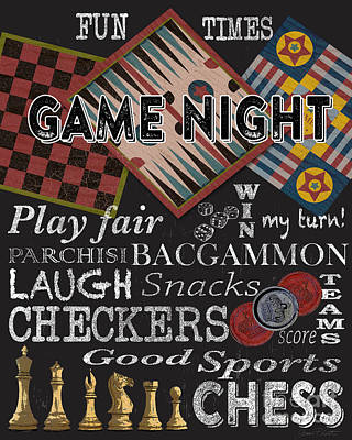 Game Night-jp3500 Art Print by Jean Plout