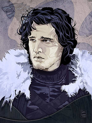 Science Fiction Royalty-Free and Rights-Managed Images - Game of Thrones Jon Snow Portrait by Garth Glazier