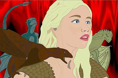 Hbo Digital Art - Game Of Thrones - Mother Of Dragons by Troy Arthur Graphics