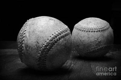 Baseball Close-up Photograph - Game Used Baseballs In Black And White by Paul Ward