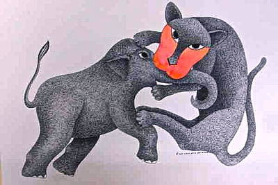 Gond Art Painting - Game by Venkat Shyam