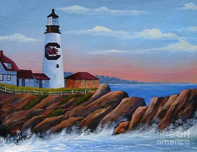 Painting - Gamecock Lighthouse by Jerry Walker